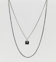 2 ожерелья-цепочки с подвеской в виде пирамиды DesignB эксклюзивно для ASOS - Черный