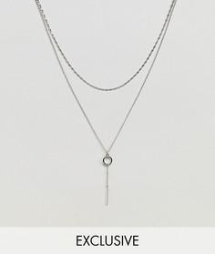 2 серебристых ожерелья-цепочки с подвеской DesignB эксклюзивно для ASOS - Серебряный
