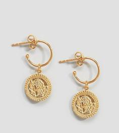 Винтажные серьги-кольца из позолоченного серебра с подвеской ASOS - Золотой