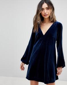 Бархатное платье Free People - Синий