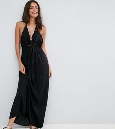 Пляжное тканое платье макси с завязкой спереди ASOS TALL - Черный