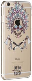 """Клип-кейс Клип-кейс Deppa Art Case для Apple iPhone 6 Plus/6S Plus рисунок """"Череп"""" + защитная пленка (прозрачный с рисунком)"""