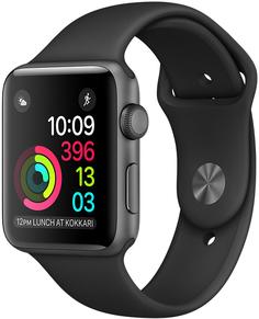 Умные часы Apple Watch Series 1, 38 мм, корпус из алюминия цвета «серый космос», спортивный ремешок черного цвета