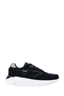 Черные кроссовки из замши и текстиля Hts74