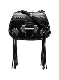 сумка через плечо Folk Saddle с заклепками Prada