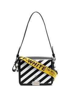 Bulldog Clip Diagonal Stripe Shoulder Bag Off-White