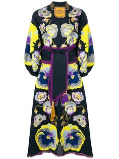платье с вышитыми анютиными глазками Yuliya Magdych