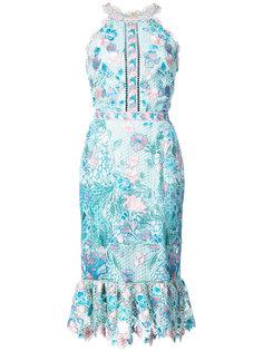 приталенное платье с ажурной отделкой и цветами Marchesa Notte