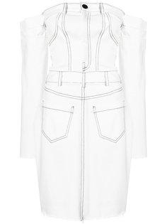 джинсовое платье с открытыми плечами Cristina Savulescu