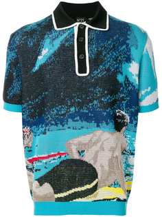 knitted surfer print polo shirt Nº21