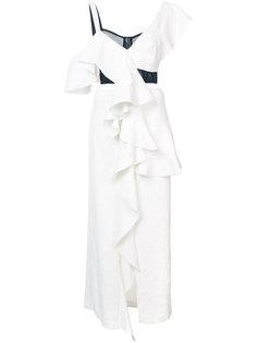 платье асимметричного кроя с оборками Proenza Schouler