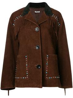 декорированная куртка с бахромой Miu Miu