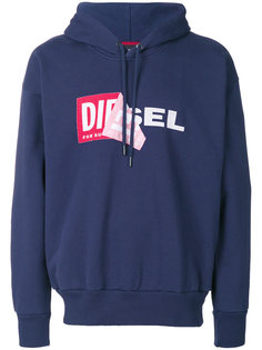 толстовка с капюшоном и логотипом  Diesel