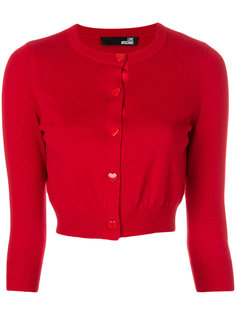 heart button cropped cardigan Love Moschino
