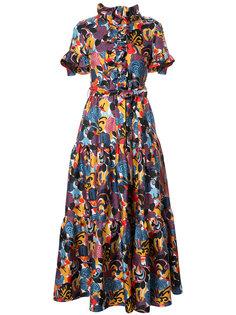 узорчатое длинное платье с оборками La Doublej