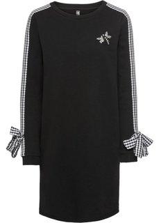 Платье с бантами и аппликацией (черный) Bonprix