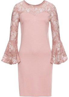 Платье с расклешенным рукавом (розовое дерево) Bonprix