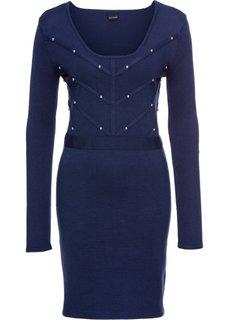 Платье вязаное с заклепками (темно-синий) Bonprix