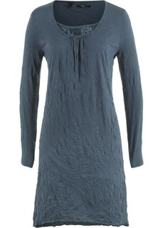 Платье с длинным рукавом из жатого материала (ночная синь) Bonprix
