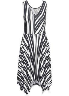 Платье из трикотажа в полоску (черный/белый в полоску) Bonprix