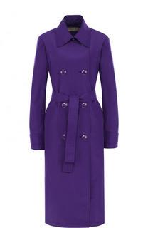 Однотонное пальто из смеси шелка и хлопка с поясом Emilio Pucci
