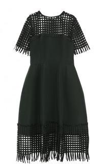Приталенное шелковое платье-миди с коротким рукавом Oscar de la Renta
