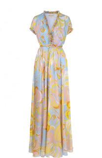 Шелковое платье-макси с завышенной талией Emilio Pucci