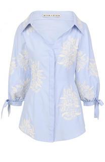 Приталенная блуза с контрастной вышивкой Alice + Olivia