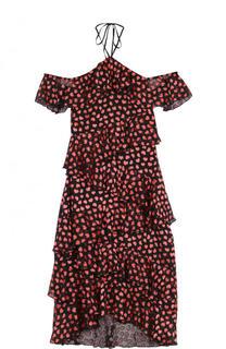 Приталенное платье-миди с оборками и открытыми плечами Alice + Olivia