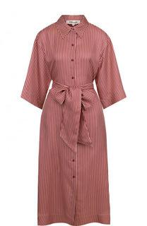 Шелковое платье-рубашка в полоску с широким поясом Diane Von Furstenberg