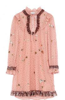 Мини-платье с укороченным рукавом и пайетками Coach