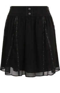 Однотонная мини-юбка с широким поясом Coach