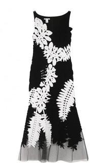 Приталенное платье с прозрачной вставкой и кружевной отделкой Oscar de la Renta