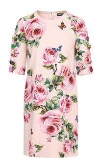 Приталенное мини-платье с цветочным принтом Dolce & Gabbana
