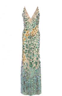 Приталенное платье-макси с V-образным вырезом и пайетками Roberto Cavalli