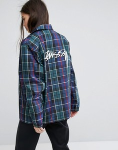 Спортивная куртка бойфренда с принтом тартан Stussy - Мульти