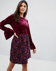 Платье из мятого бархата с жаккардовой юбкой в цветочек Anna Sui - Розовый