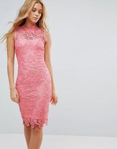 Кружевное платье миди Paper Dolls - Розовый