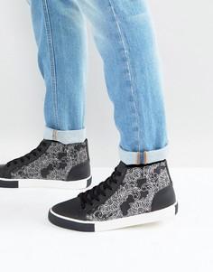 Черно-белые кроссовки с контрастным узором ASOS - Черный
