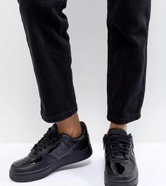 Женские черные лакированные кроссовки Nike Air Force 1 07 - Черный