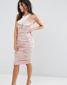 Розовое платье со сборками и перекрестными бретелями Ax Paris - Розовый