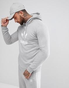Серый худи с логотипом-трилистником adidas Originals adicolor CY4572 - Синий