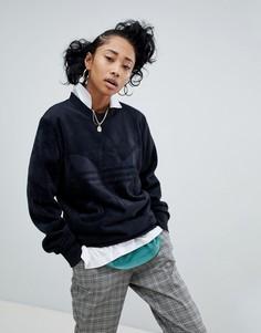 Черный велюровый оversize-свитшот adidas Originals - Черный