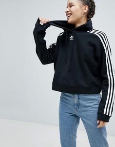 Худи укороченного кроя черного цвета adidas Originals adicolor - Черный