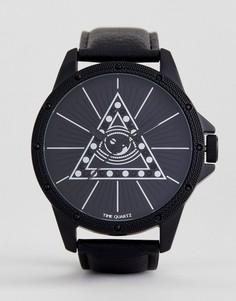Монохромные oversize-часы с отделкой в виде глаза и стразами ASOS - Черный