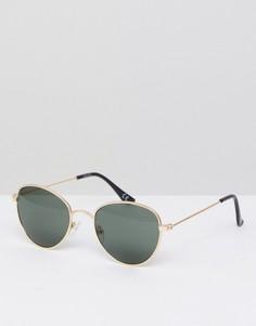 Круглые очки в золотистой оправе с дымчатыми стеклами ASOS - Золотой