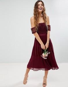 Премиум-платье миди с кружевными вставками ASOS Bridesmaid - Красный