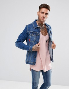 Синяя узкая джинсовая куртка 11 Degrees - Синий