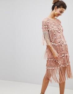 Платье мини с вышивкой и кисточками ASOS EDITION - Розовый
