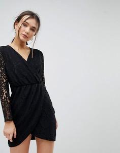 Кружевное платье с запахом QED London - Черный